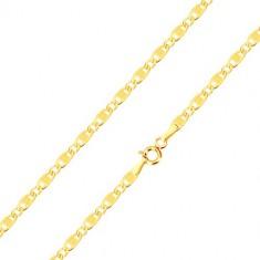 0ce7563c5 Šperky eshop - Náramok v žltom zlate 585 - oválne a podlhovasté očká,  zárezy a