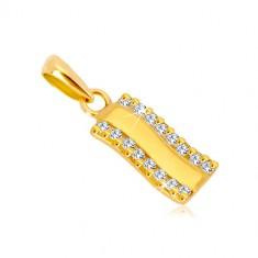 329f77f90 Šperky eshop - Prívesok v žltom zlate 585 - lesklý zvlnený pás, zvislé  zirkónové línie