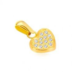 316413b6f Šperky eshop - Prívesok zo žltého 14K zlata - pravidelné srdiečko vykladané  zirkónikmi GG37.39