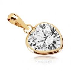 8b39cd234 Šperky eshop - Prívesok v žltom zlate 375 - kontúra srdca, pravidelné  zirkónové srdiečko GG40