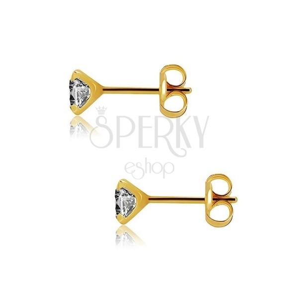 25432fbc8 ... Náušnice zo žltého zlata 375 - brúsený okrúhly zirkón čírej farby, 5 mm  ...