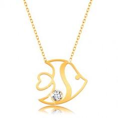 Šperky eshop - Náhrdelník v 14K žltom zlate - lesklá rybička s výrezmi a zirkónom, tenká retiazka GG15.49