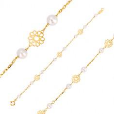 c3af06366 Náramok v žltom zlate 585 - ornamentálne vyrezávané kvietky, perly