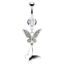 Piercing do pupku dvojitý motýľ so zirkónmi