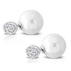Oceľové náušnice - ligotavá gulička so vsadenými zirkónmi, syntetická perla
