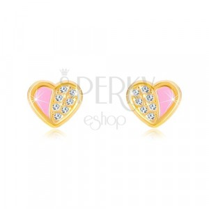 Náušnice zo 14K zlata - súmerné srdiečko vykladané zirkónmi, ružová glazúra
