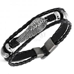 Čierny náramok zo syntetickej kože - anjelské krídlo, zapletané pásy, korálky
