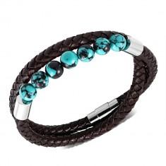 079cbcc51 Šperky eshop - Tmavohnedý náramok z umelej kože - pletený, tyrkysovo-čierne  guličky SP16