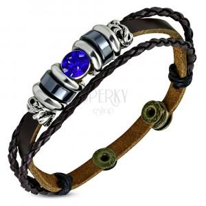 Náramok zo syntetickej kože - pás a dva úzke pletence, modrý zirkón, korálky