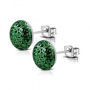 Náušnice z ocele - krúžok posiaty trblietkami zelenej farby, puzetové zapínanie