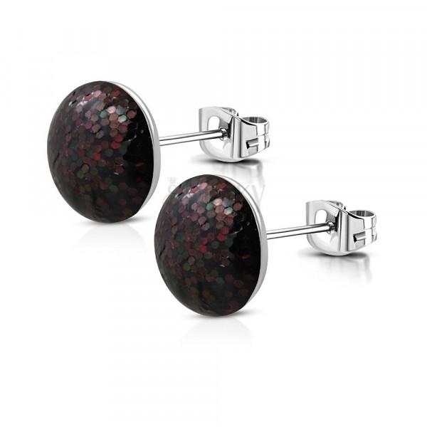 Puzetové náušnice z ocele - čierny krúžok, bordové a tmavozelené trblietky