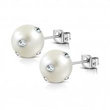 Oceľové náušnice - biela syntetická perla, číre ligotavé zirkóny, puzetky
