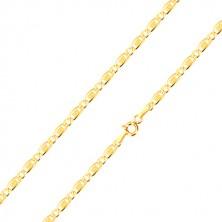 Retiazka zo 14K zlata - oválne očko, podlhovasté očko s obdĺžnikom a mriežkou, 450 mm