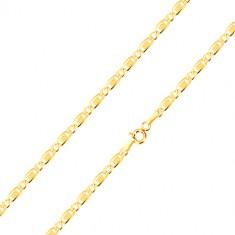 Šperky eshop - Retiazka zo 14K zlata - oválne očko, podlhovasté očko s obdĺžnikom a mriežkou, 450 mm GG187.22