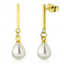 Oceľové náušnice zlatej farby - lesklá palička s oválnou syntetickou perlou