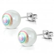 Náušnice z chirurgickej ocele - umelá perla, špirála v dúhových farbách, puzetky