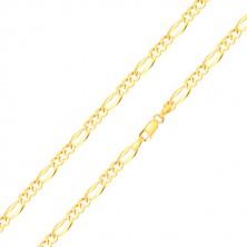 Zlatá retiazka 14K, vzor Figaro - podlhovasté očko, tri oválne očká, 450 mm