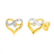Briliantové náušnice z kombinovaného zlata 585 - kontúra srdca, symbol nekonečna