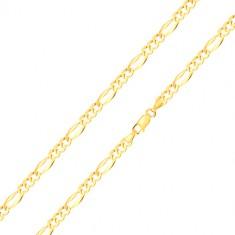Šperky eshop - Retiazka zo žltého 14K zlata - podlhovasté očko so širšími okrajmi, tri oválne očká, 500 mm GG186.28