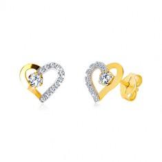 Šperky eshop - Náušnice z kombinovaného zlata 585 - srdiečko so zirkónovou líniou a číry zirkón GG37.33