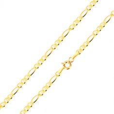 Šperky eshop - Retiazka zo žltého 14K zlata - tri oválne očká s paličkou, podlhovasté očko, 550 mm GG186.34