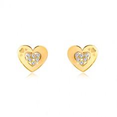 Šperky eshop - Náušnice v žltom 14K zlate - obrys srdiečka so zirkónmi uprostred, puzetky GG37.32