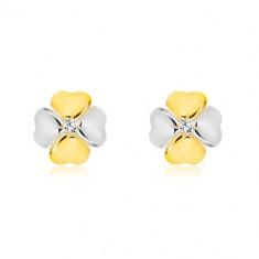Šperky eshop - Briliantové náušnice v kombinovanom zlate 585 - symbol šťastia s diamantom BT504.28