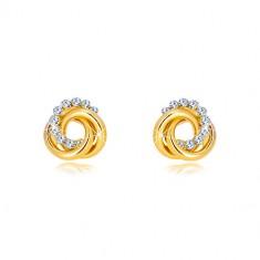 Šperky eshop - Náušnice v žltom 14K zlate - dva prstence a zirkónový kruh, puzetky GG37.34