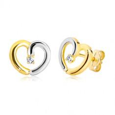 Šperky eshop - Puzetové náušnice z kombinovaného zlata 585 - kontúra srdca s briliantom BT504.25