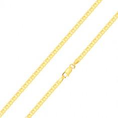 Náramok zo žltého zlata 585 - striedavo napájané zložené očká, 200 mm