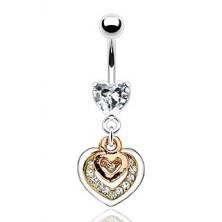 Piercing do pupku - srdcia medenej, zlatej a striebornej farby, číre zirkóny