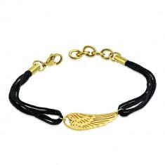 9dfc4cb3e Šnúrkový náramok z chirurgickej ocele - anjelské krídlo v zlatom farebnom  odtieni