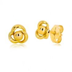 Náušnice zo žltého zlata 375 - kvietok s tromi lupienkami a guličkou uprostred