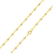 Retiazka zo žltého 9K zlata - špirálovito usporiadané oválne očká, 450 mm