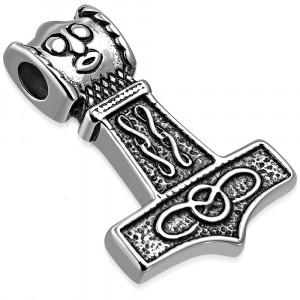 Prívesok striebornej farby z ocele - symbol Thorovho kladiva, keltské uzly