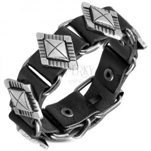Kožený náramok čiernej farby - ozdobne vyrezávané nity v podobe diamantu