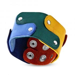 Náramok z kože - farebné dieliky puzzle spájané nitmi, motív PRIDE