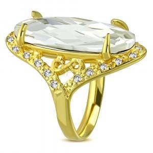 Mohutnejší prsteň zlatej farby z ocele - číry brúsený zirkón, symbol nekonečna