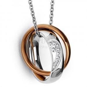 Oceľový prívesok - obrúčka s polovicou srdca a zirkónmi, prsteň medenej farby