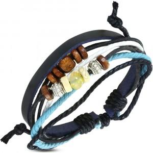 Nastaviteľný náramok so šnúrkami - koženkový pás čiernej farby, korálky