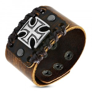Širší náramok z pravej kože hnedej farby - štruktúra dreva, maltézsky kríž