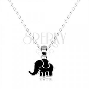 e74db0727 Náhrdelník zo striebra 925 - lesklá retiazka, sloník zdobený čiernou  glazúrou
