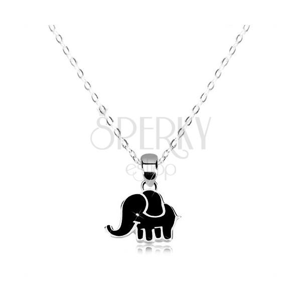 Náhrdelník zo striebra 925 - lesklá retiazka, sloník zdobený čiernou glazúrou