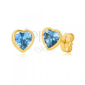 Zlaté 9K náušnice - tenká kontúra srdca, syntetický akvamarín modrej farby