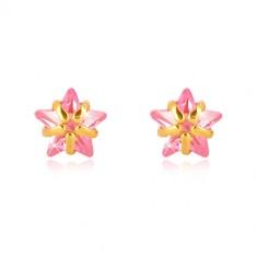 Šperky eshop - Náušnice zo žltého zlata 375 - päťcípa hviezdička, zirkón ružovej farby GG39.28