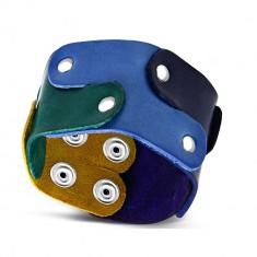 c0d7b1e19 Šperky eshop - Náramok z pravej kože - puzzle dieliky spájané nitmi, dúhové  farby,