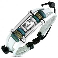 Šperky eshop - Náramok z umelej kože bielej farby - kovové a drevené korálky, rúrky SP92.07