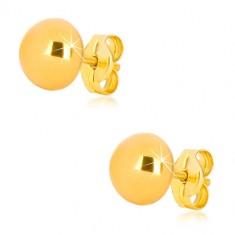 Náušnice zo žltého zlata 375 - jednoduchá pologuľa, zrkadlovolesklý povrch, 7 mm