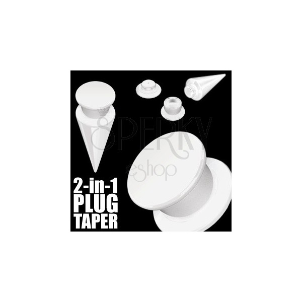 Taper a plug 2 v 1 biely