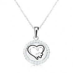 4ed3493d3a91 Šperky eshop - Náhrdelník zo striebra 925 - okrúhly prívesok so srdcom a  kvietkom
